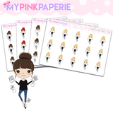 288 | Girl's Bill Due | Cute Girl Stickers - My Pink Paperie
