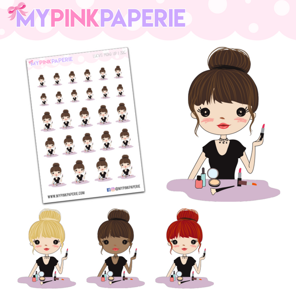 286 | Girl's Make Up | Cute Girl Stickers - My Pink Paperie
