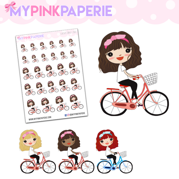 280 | Girl's Bike | Cute Girl Stickers - My Pink Paperie