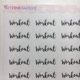 "053 | ""Workout"" Script Stickers - My Pink Paperie"