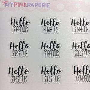 "068 | ""Hello Gorgeous"" Script Stickers - My Pink Paperie"