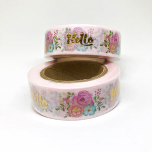"Pink Floral ""Hello"" Foil Washi Tape"