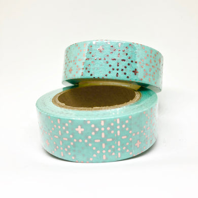 Sea Green Washi Tape with Rose Gold Foil