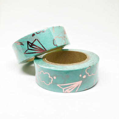 Teal & Rose Gold Foiled Sky Washi Tape Roll