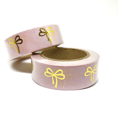 Pink Gold Foiled Bows Washi Tape Roll