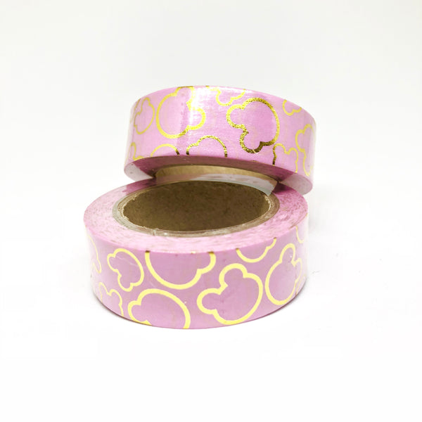 Pink Foiled Teddy Bear Washi Tape Roll - My Pink Paperie