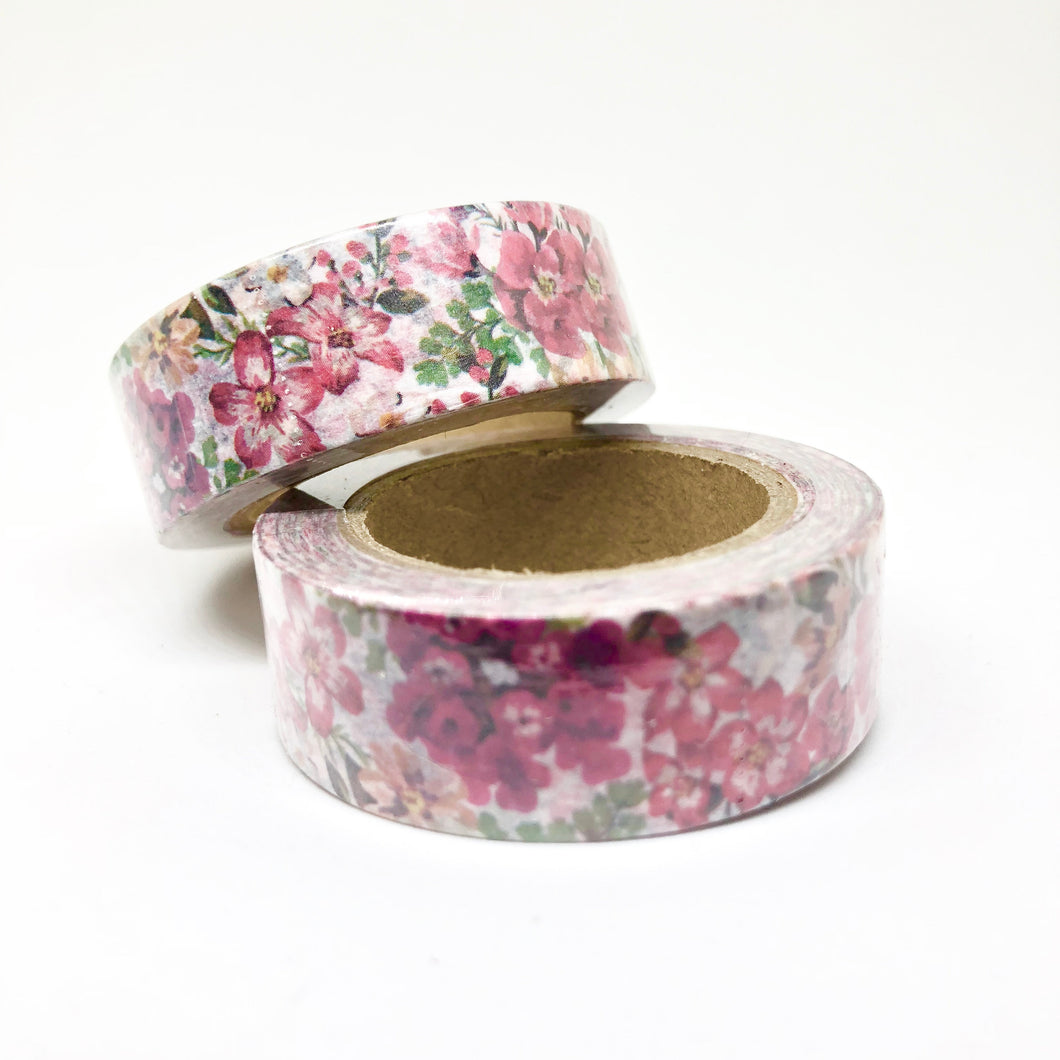 Pink Floral Washi Tape Roll - My Pink Paperie