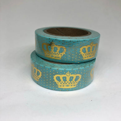 Turquoise Crown Gold Foiled Washi Tape Roll