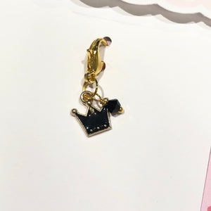LC19 | Black Crown Charm w/ Lobster Clasp - My Pink Paperie