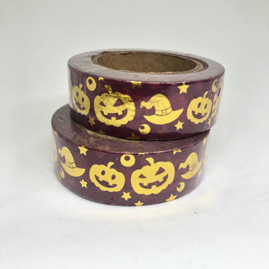Gold Foiled Halloween Washi Tape Roll