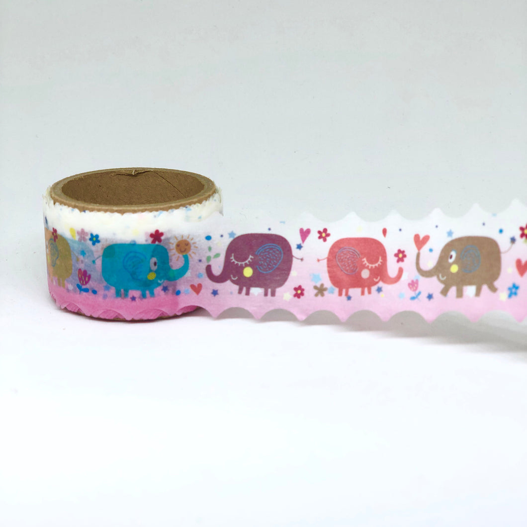 Pink Elephant Scalloped Washi Tape Roll - My Pink Paperie