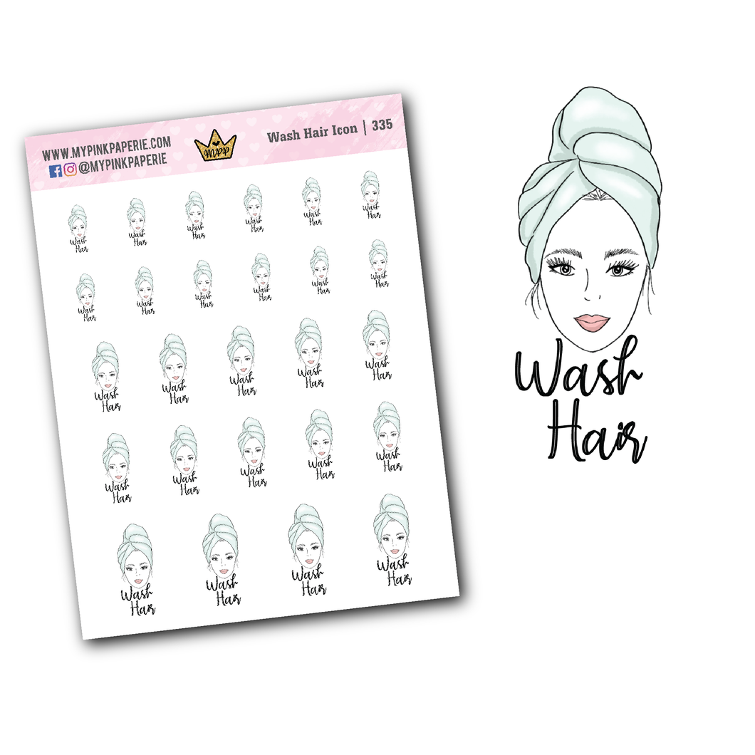 335 | Wash Hair Icons | Self Care Icons Collection - My Pink Paperie