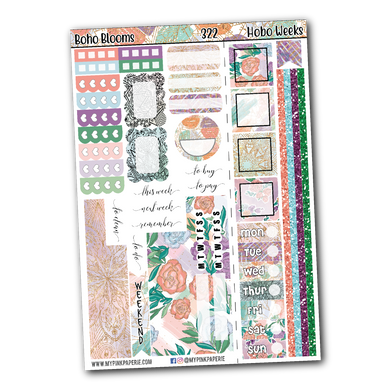 322 | Boho Blooms | Hobonichi Weeks Kit - My Pink Paperie