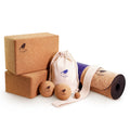 "Cork Yoga Mat, Massage Balls and Yoga Block Bundle - ""The Flock"""