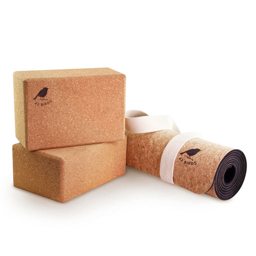 Cork Yoga Mat and Two-Block Bundle