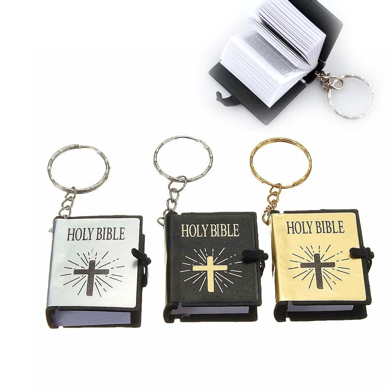 Praise Temple 1PC Mini gold silver black cross Bible Keychain English HOLY BIBLE Religious Christian Jesus Gold Cover Accessories G30