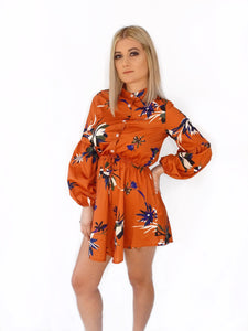 Rust Puff Sleeve Floral Dress