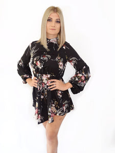Black Floral Puff Sleeve Dress