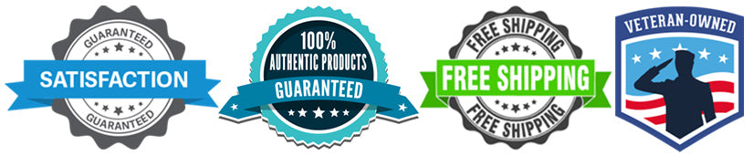 Satisfaction Guaranteed, 100% Authentic Products, Free Shipping, Veteran Owned Business