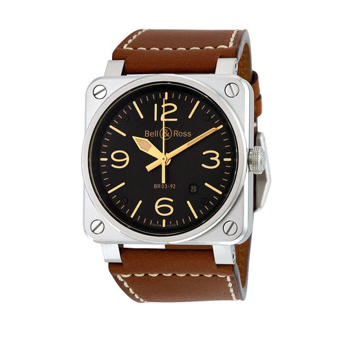 Bell and Ross BR 03-92 Golden Heritage Aviation Watch, Black Dial / Leather