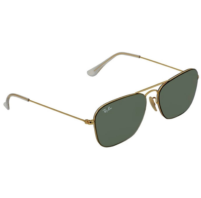Ray-Ban RB3603-56 Classic Square Pilot Sunglasses, 56mm Gold / Green