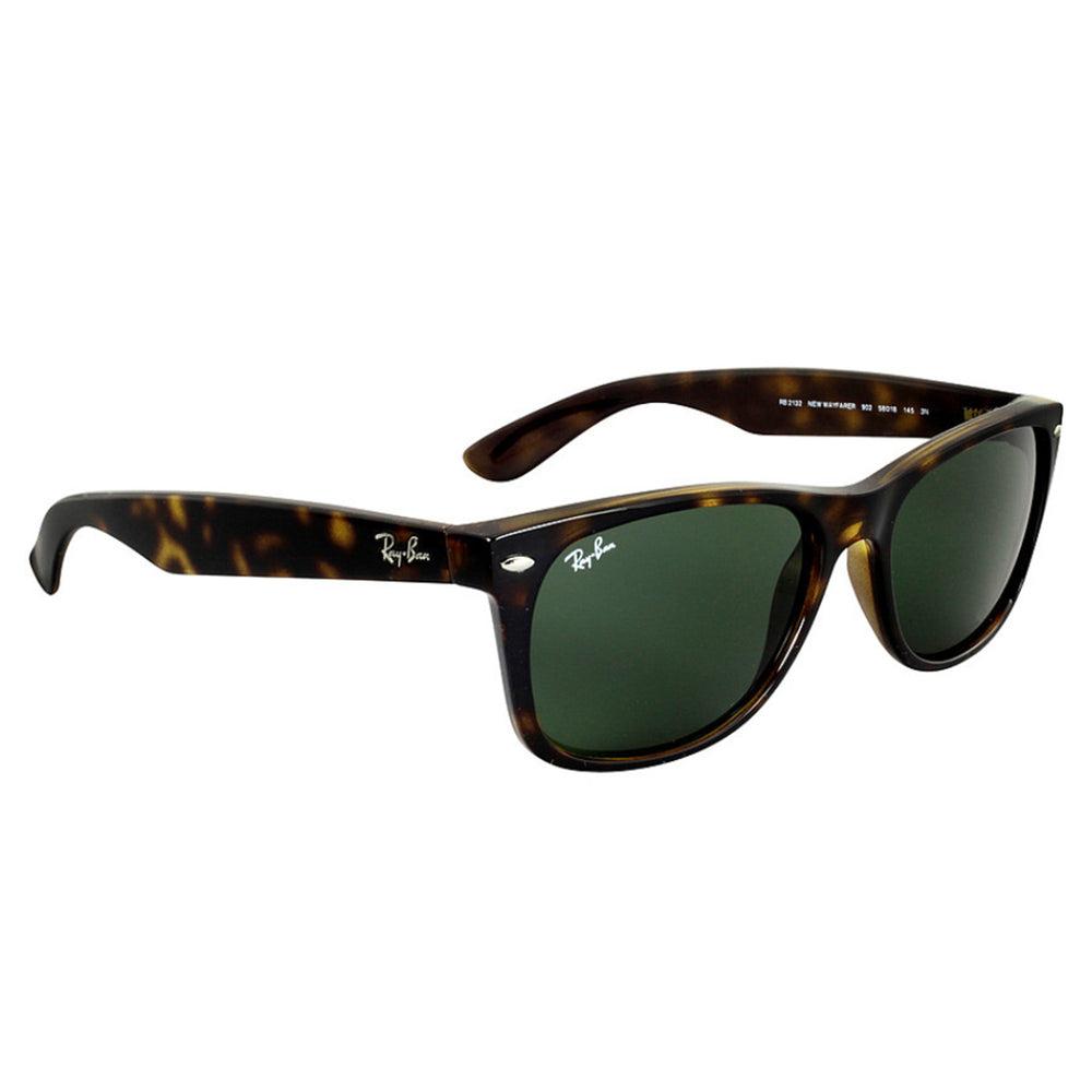 Ray-Ban RB2132-52 New Wayfarer Sunglasses, 52mm Tortoise / G-15 Green Lens