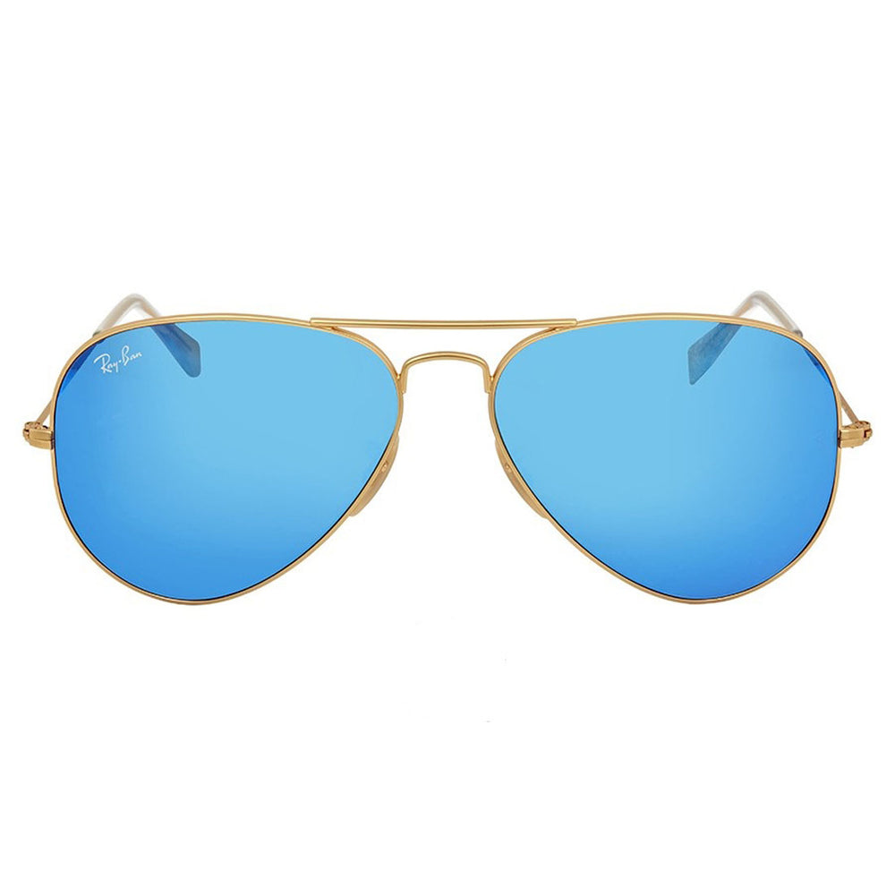 Ray-Ban RB3025-58 Aviator Sunglasses, 58mm Matte Gold / Crystal Blue Mirrored