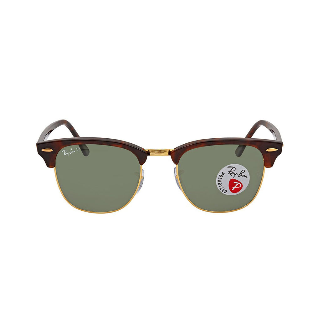 Ray-Ban RB3016-49 Clubmaster Sunglasses, 49mm Tortoise / G-15 POLARIZED