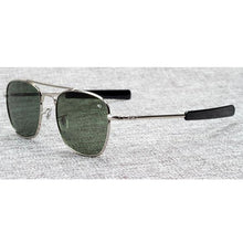 Military Square Pilot Sunglasses, 54mm Silver / Green