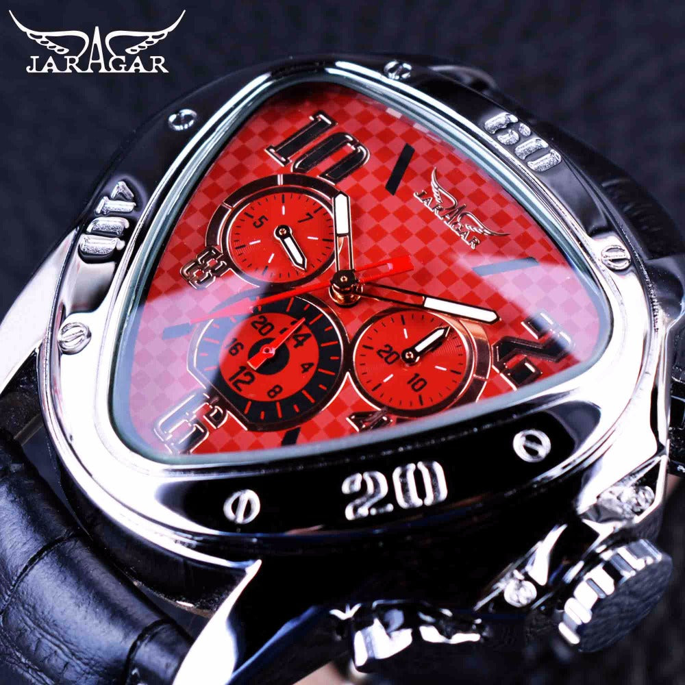 Triangle 3 Dial Watch - Sport Racing Series Red, Genuine Leather Strap