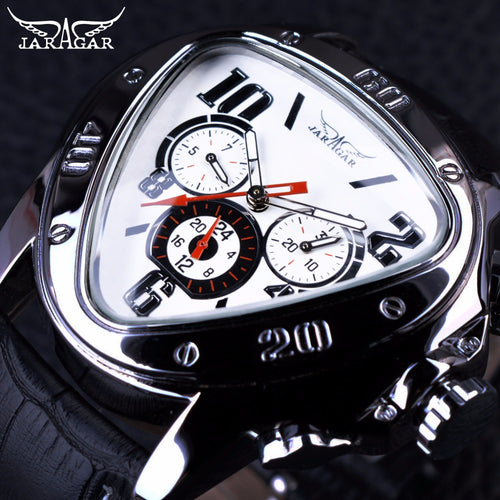 Triangle 3 Dial Watch - Sport Racing Series White, Genuine Leather Strap