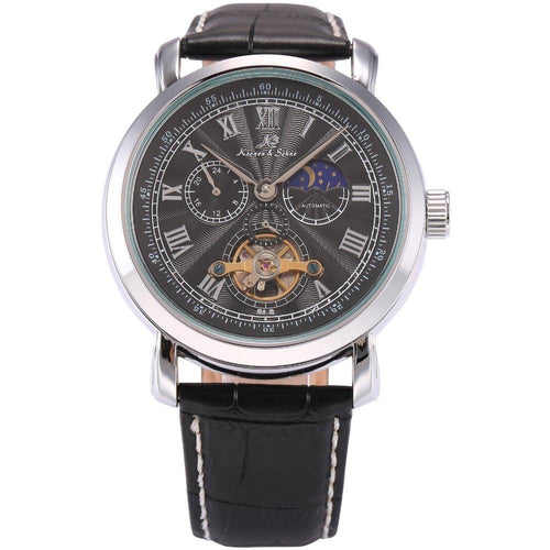 Navigator Series Tourbillion Watch, Silver Dial, Black Leather Strap