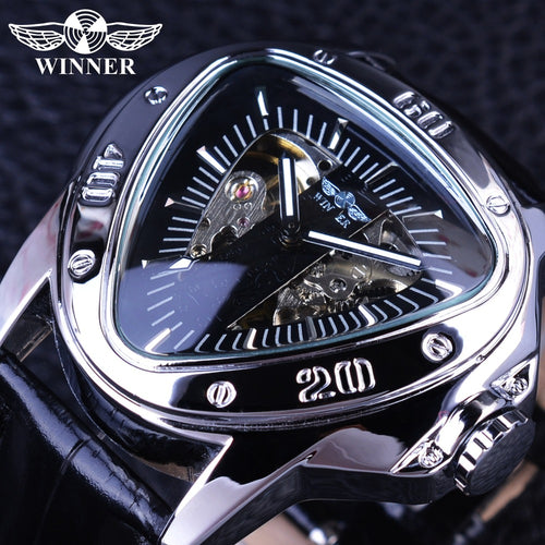 Triangle Silver Skeleton Dial Watch