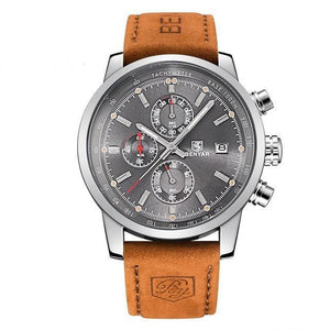 BENYAR Sport Chronograph Watch - Silver Case - Gray Dial / Brown Band