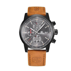 BENYAR Sport Chronograph Watch - Black Case - Gray Dial / Brown Band