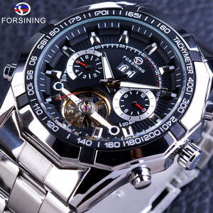 Military Style Tourbillion Watch, Calendar Display, Silver Stainless Steel