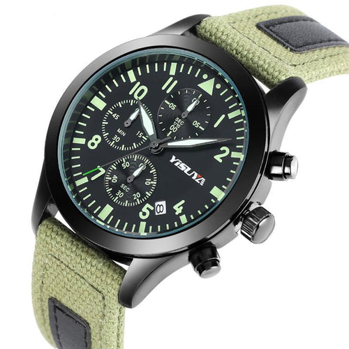 3 Dial Pilot / Aviator Watch, Green with Nylon Band