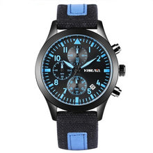 3 Dial Pilot / Aviator Watch, Blue with Nylon Band