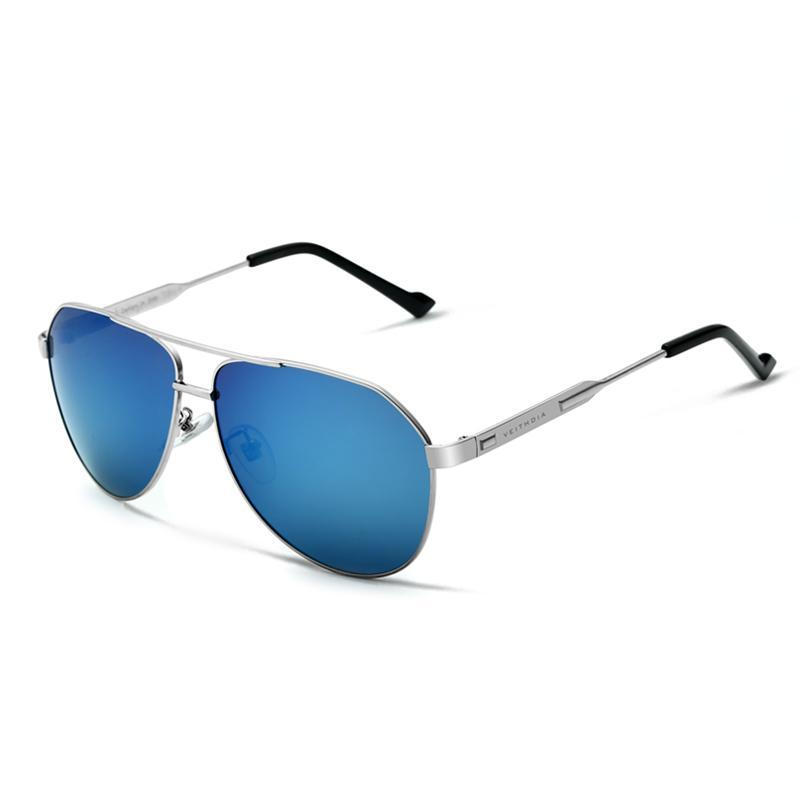 Classic Aviator Squared Sunglasses, 60mm Silver / Blue POLARIZED