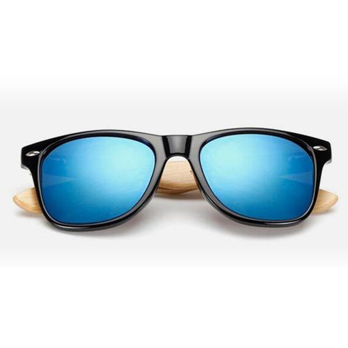 Retro Wood Bamboo Sunglasses - Blue Mirror