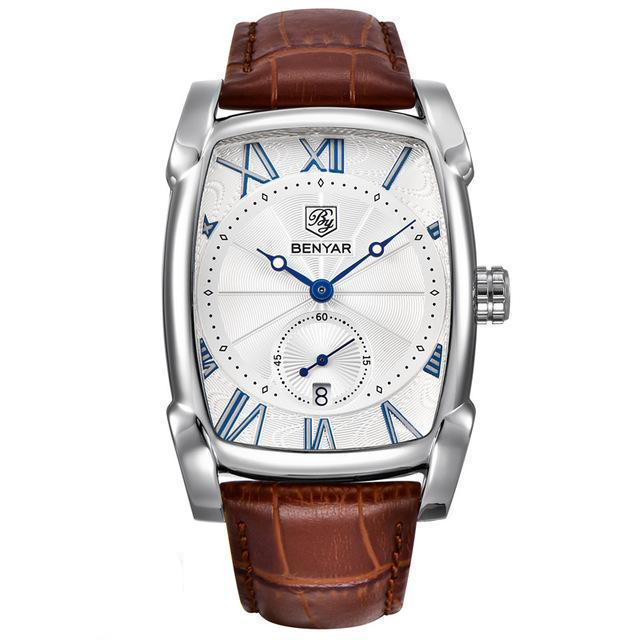 BENYAR Tanker Watch - Silver Case - White Dial / Brown Band