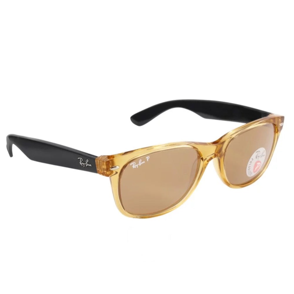 Ray-Ban RB2132-55 New Wayfarer Sunglasses, 55mm Honey Brown POLARIZED