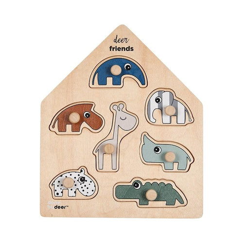 Done by Deer, Deer Friends Wooden Puzzle - Bygge Bo
