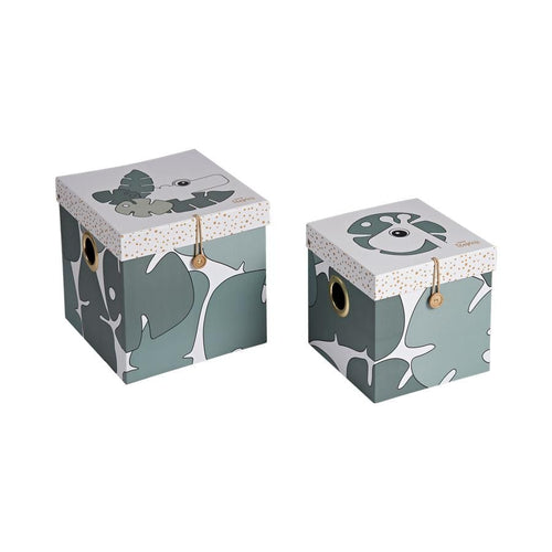 Done by Deer, 2 Large Storage Box Set, Tiny tropics - Bygge Bo