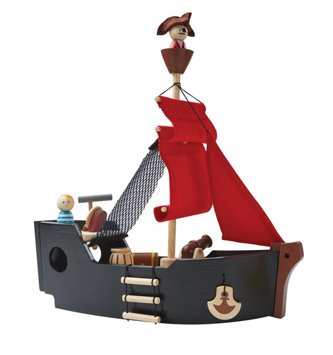 Plan Toys, Kids Wooden Pirate Ship - Bygge Bo