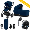 Cybex, Balios S 2-In-1, Bumper Travel Bundle w/ Aton M (Navy Blue) - Bygge Bo