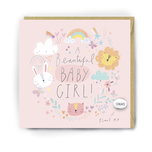 Lucy & Lolly, A Beautiful Baby Girl, Card - Bygge Bo