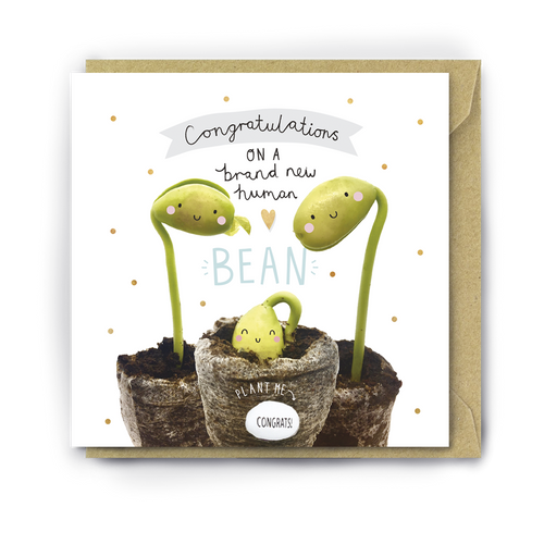 Lucy & Lolly, Brand New Human Bean Card - Bygge Bo