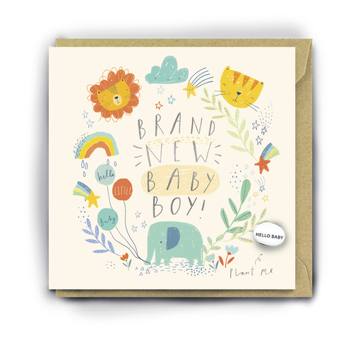 Lucy & Lolly, A Brand New Baby Boy, Card - Bygge Bo