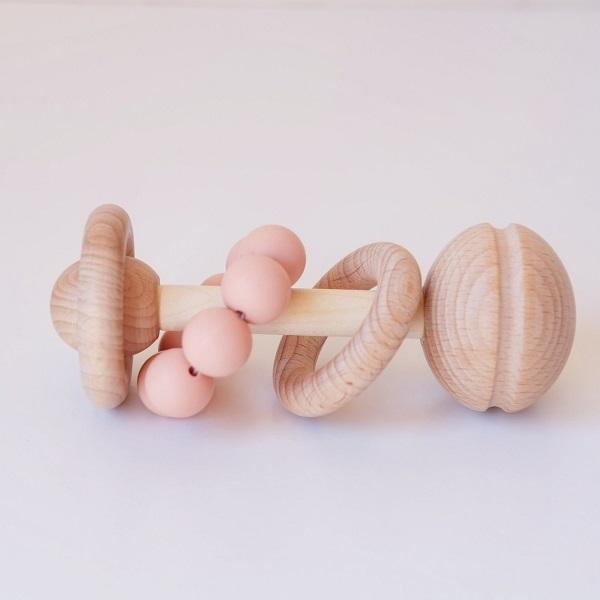 Blossom & Bear Wooden and Silicone Baby Rattle